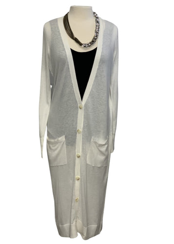 White Halogen L/S Long Cardigan, M