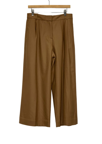 Brown J Crew Cropped Wool Wideleg Pants, 10Tall