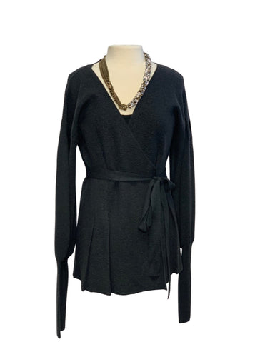 Charcoal Treasure & Bond L/S Wrap Cardigan, M