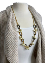 Load image into Gallery viewer, Gold & Pearl J Crew Long Animal Print Necklace, OS