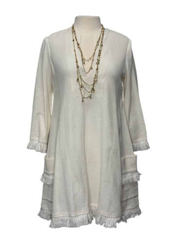 Off- White BCBGMaxazria Trysta Boho Fringe Dress, S
