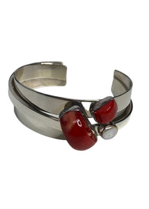 Silver Lilly Barrack Red & White Stone Bracelet, OS