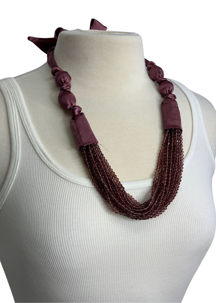Purple N/B Bead and Ribbon Tie Necklace, OS