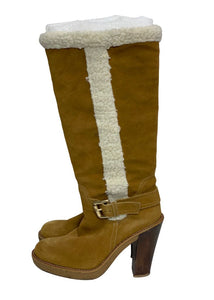 Camel Michael Kors Suede Derby Boots, 8 1/2