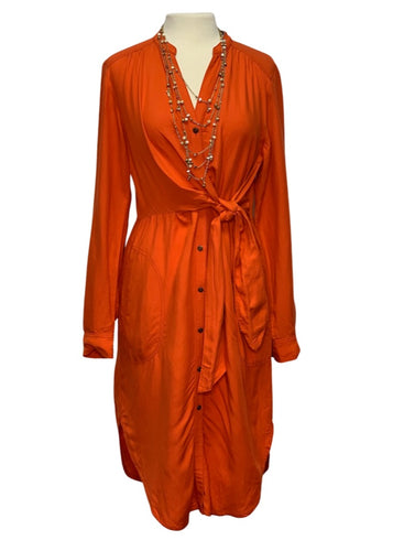 Orange Maeve Anthropologie L/S Araceli Shirt Dress, 10