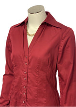 Load image into Gallery viewer, Red Ann Taylor Loft L/S Blouse button up, 0