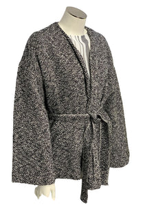 Gray Eileen Fisher Wrap Sweater, Medium