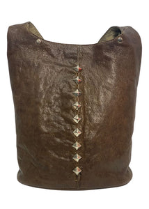 Brown Calleen Cordero Leather Studded Tote