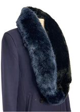 Load image into Gallery viewer, Black/Blue Dena Infinity Faux Fur Scarf, OS