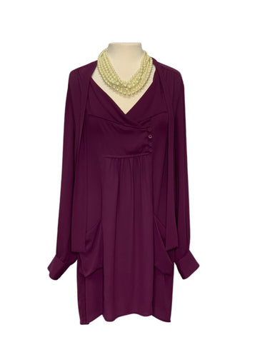 Purple BCBGmaxazria L/S Tunic Shirt Dress, L