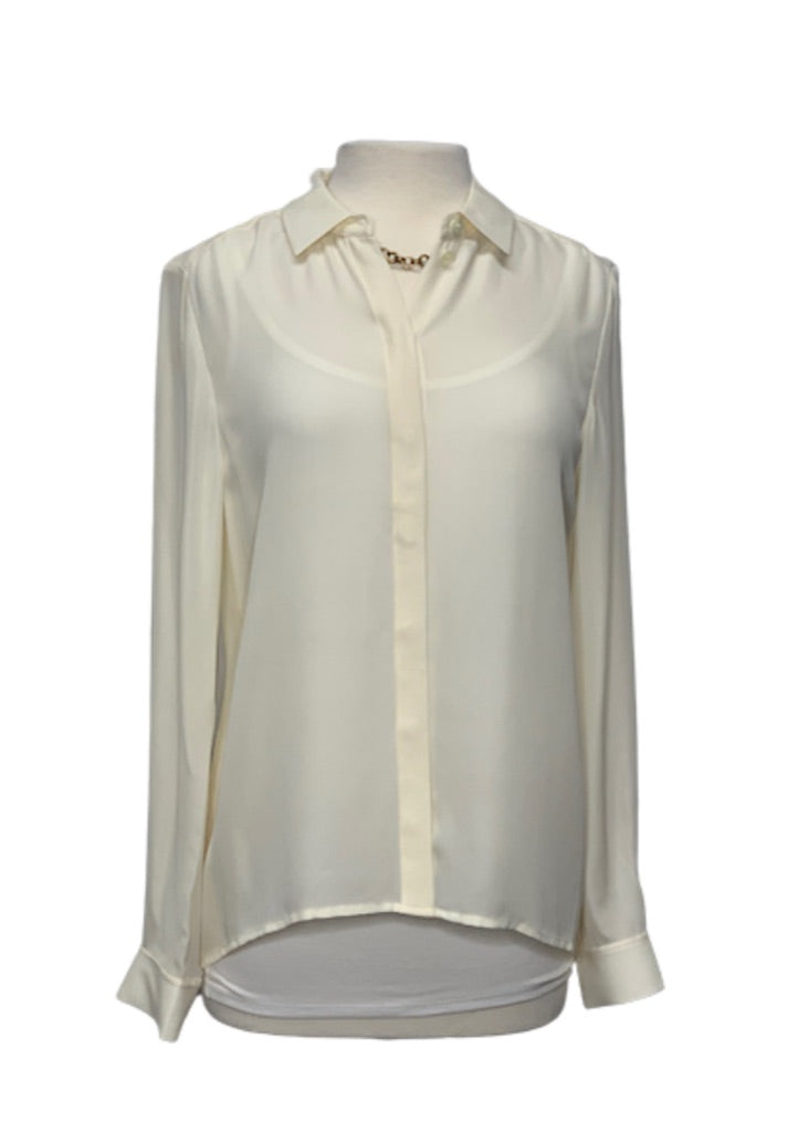 Ivory Leifsdottir by Anthropologie L/S Silk Button Up Blouse, 10