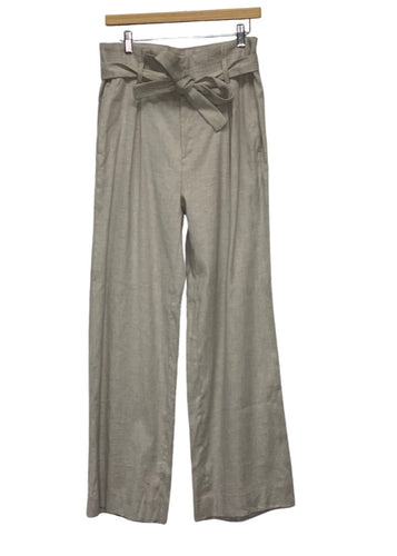 Taupe Banana Republic Wide-leg Linen Pants, 10