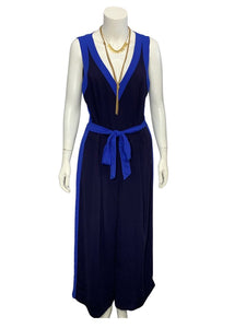 Blue and Navy Elevenses- Anthropologie Jumpsuit, 10Tall
