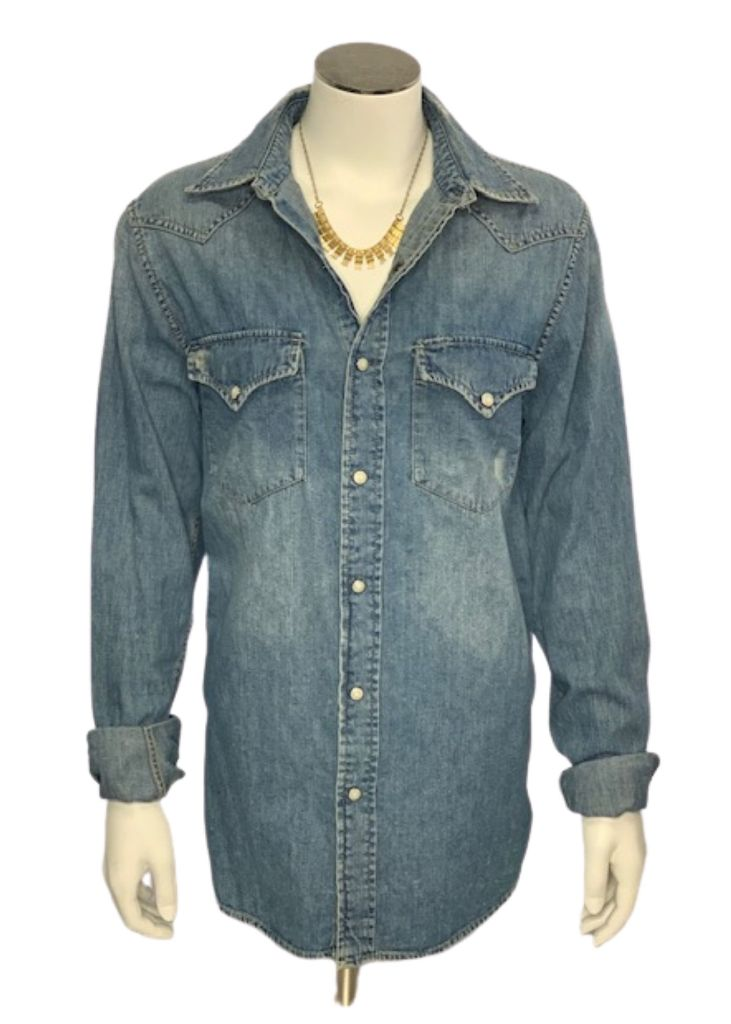 Blue Ralph Lauren Denim & Supply Button Down Denim Shirt, Small