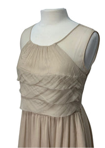 Nude Burlapp- Anthropologie N/S Chiffon Silk Dress, 10