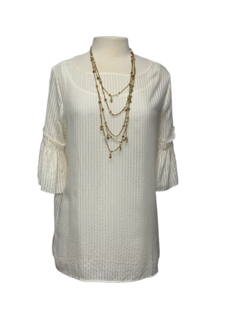 Off- White Ann Taylor Loft Bell Sleeve Blouse, M Tall