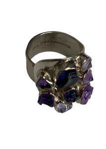 Purple Lilly Barrack Adjustable Multi-Stone Ring, N/S