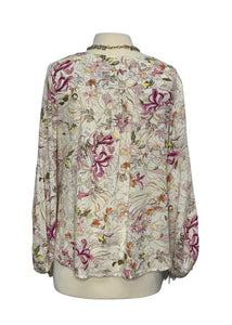 Cream and Pink Anthropologie Maeve Long-sleeved Top, M