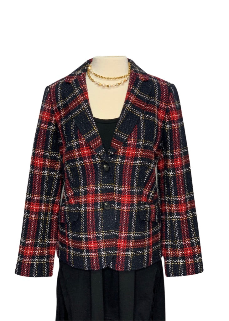 Plaid Talbots Plaid Blazer, 14