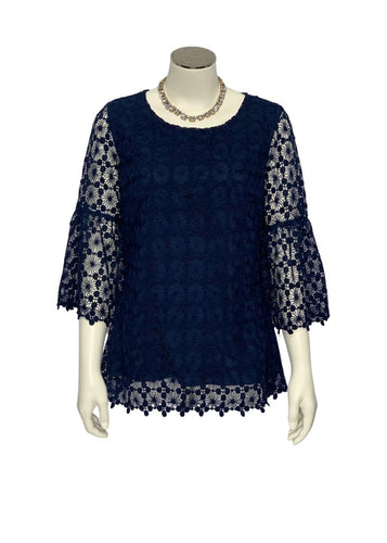 Navy SAIL to SABLE- NWT 3/4 Slv Lace Blouse, XS