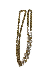 Gold Unknown Gold and Pearl Necklace, N/S