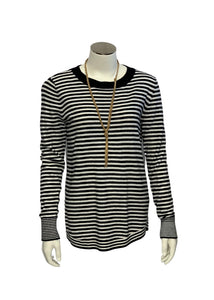 Black/White Ann Taylor Loft L/S Striped Sweater, S