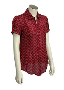 red Banana Republic S/S Slv Button Up Blouse, XS