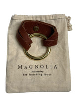Load image into Gallery viewer, Brown Magnolia Leather Cuff Bracelet, OS