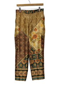 Yellow Zara Printed Silky Pants, S