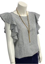 Load image into Gallery viewer, Blue J Crew Flutter Sleeve Top, 10T