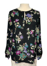 Load image into Gallery viewer, Black Floral Ann Taylor Loft Longsleeve Sheer Top, M