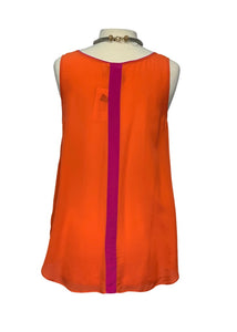 Orange Maeve Anthropologie N/S Silk Blouse, 12