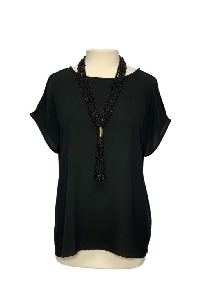 Black Ann Taylor Loft Short Sleeve Blouse, M