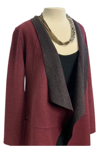 Burgundy Eileen Fisher- NWOT Open Jacket, Small