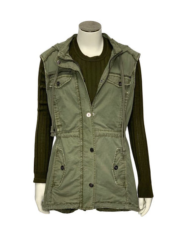 Army Green Marrakech Anthropologie Sleeveless Hooded vest, M