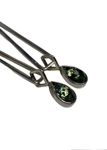Silver Lilly Barrack Green Stone Drop Earrings, N/S