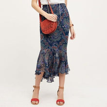 Load image into Gallery viewer, Blue Vanessa Virginia- Anthropologie Hi-low Silk Maxi Skirt, 8