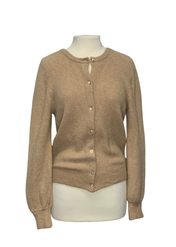 Tan J Crew L/S Button Up Sweater, M