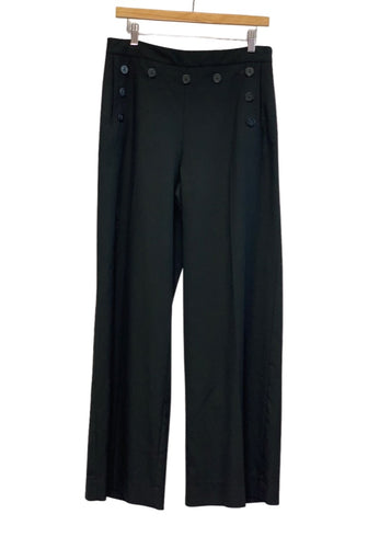 Black 1901 Button Detail Wide Leg Sailor Pants, 10