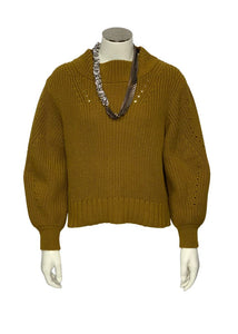 Mustard J Crew L/S Oversized Crop Sweater, XS