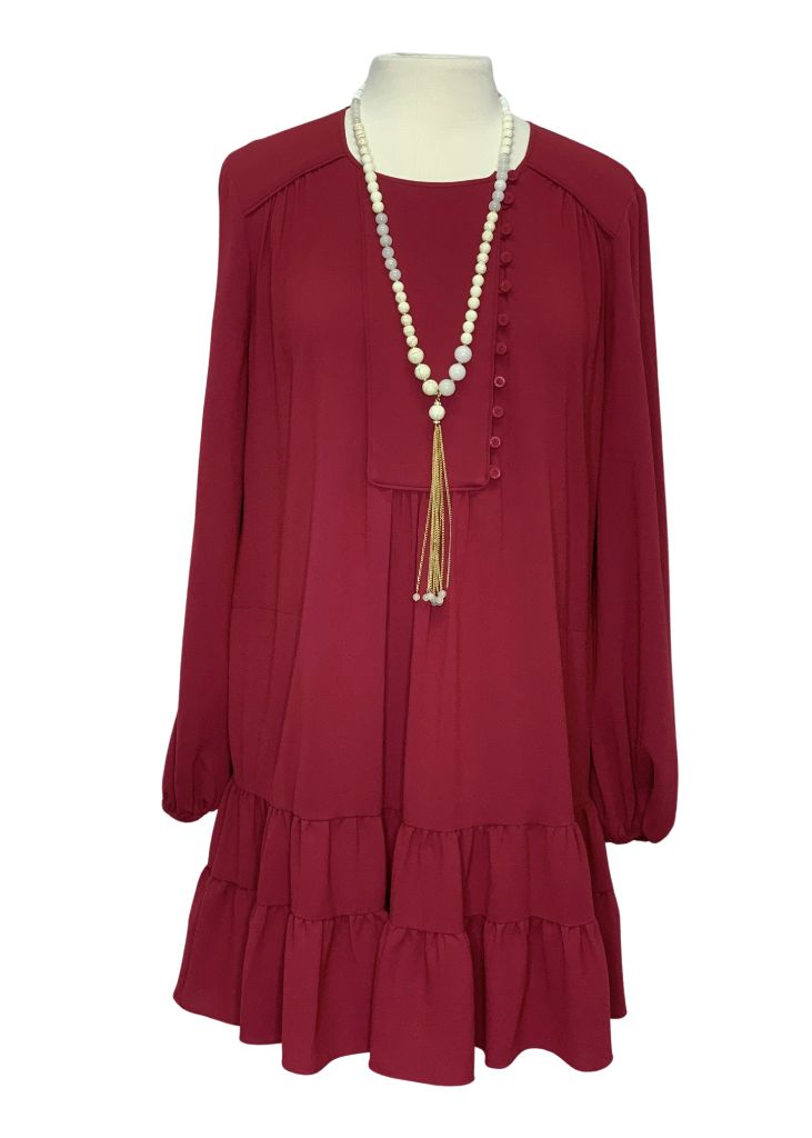 Burgundy BCBGMaxazria Longsleeve Dress, M