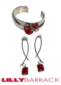Silver Lilly Barrack Red Stone Earrings, N/S