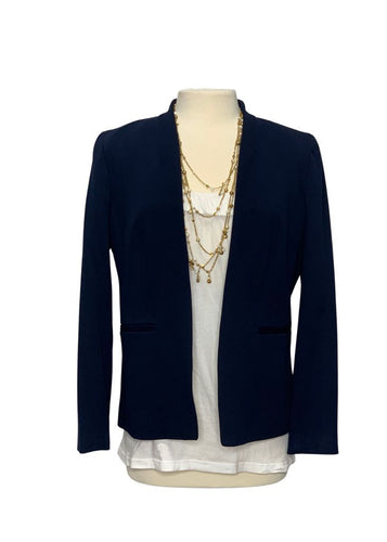 Navy J Crew Collarless Open Blazer, 12T
