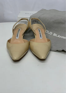 Nude Manolo Blahnik Carolyne Patent Leather Halter Pumps, 36/5.5/6