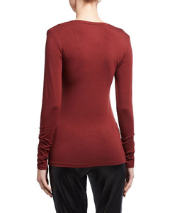 Burgundy Majestic Filatures L/S tee shirt, 2/S