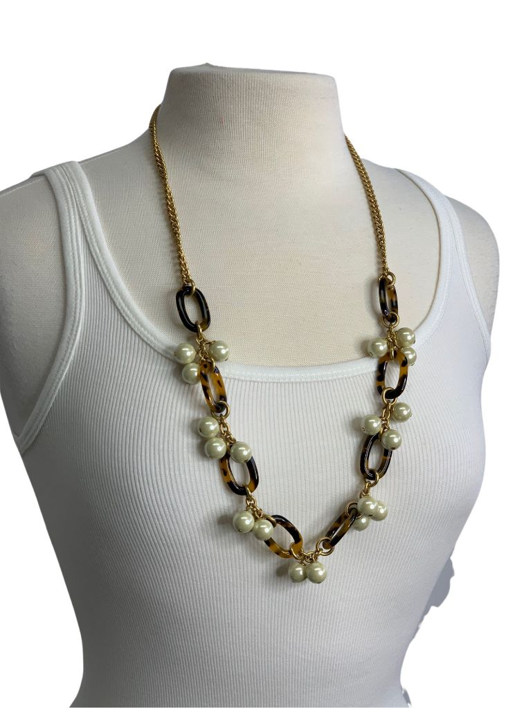 Gold & Pearl J Crew Long Animal Print Necklace, OS