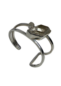 Silver Lilly Barrack Large stone Cuff Bracelet, OS