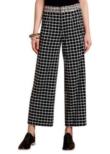 Black Elevenses- Anthropologie Cropped Wideleg Pants, 8?