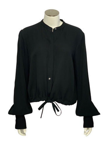 Black Helmut Lang L/S Open Back Blouse, S