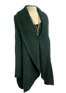 Green The Cue Cher Q- Anthropologie Cocoon Shrug Sweater, S